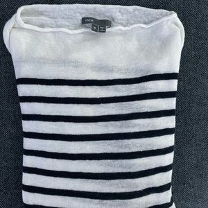 Vince linen navy striped sweater S boat neck